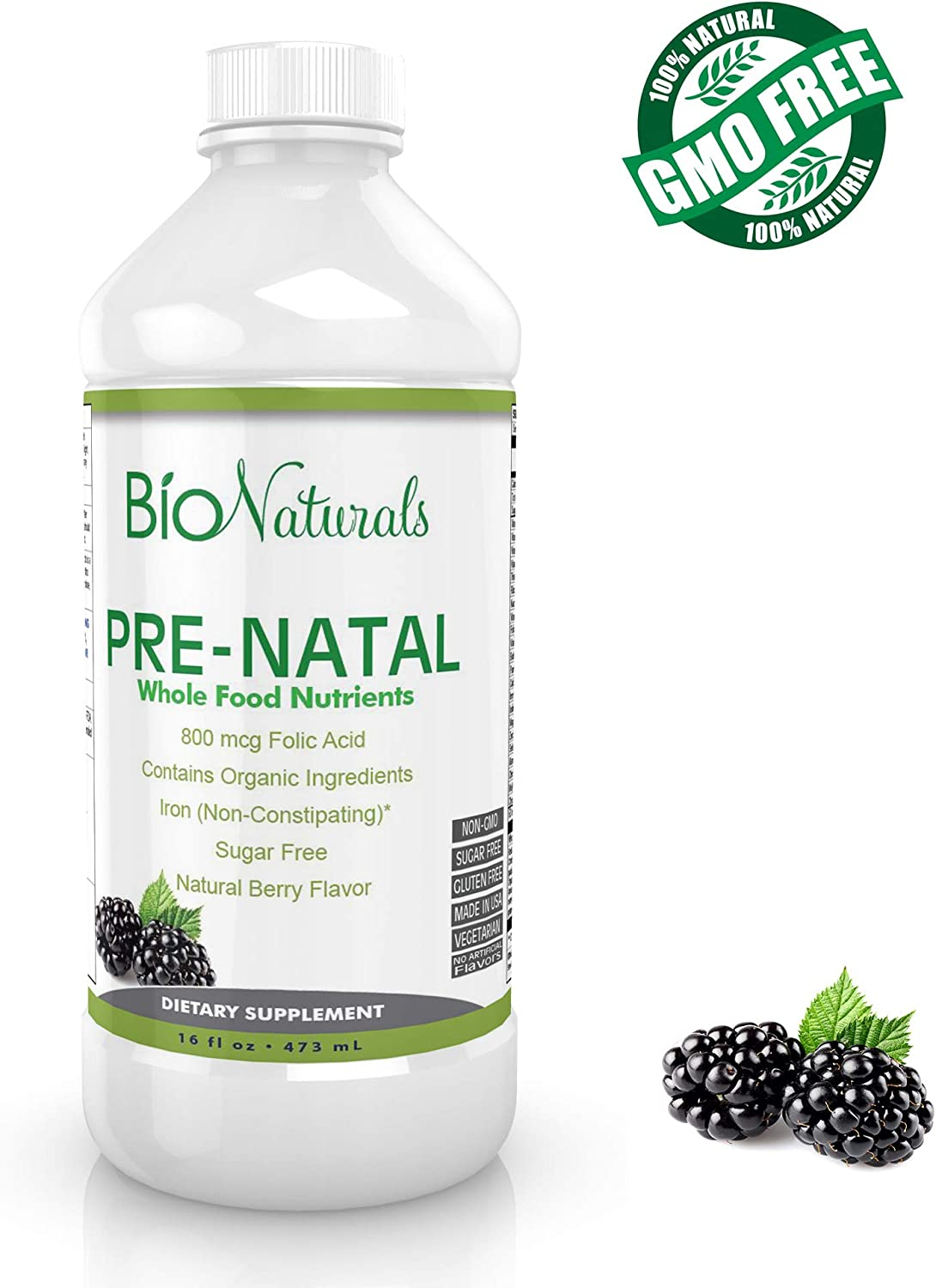 Bio Naturals Prenatal Liquid Vitamins for Women – 100 Vegetarian Supplement w Whole Food Nutrients Organic Ingredients – All Essential Daily Vitamins for Pregnancy – No Sugar or Gluten – 16 fl oz