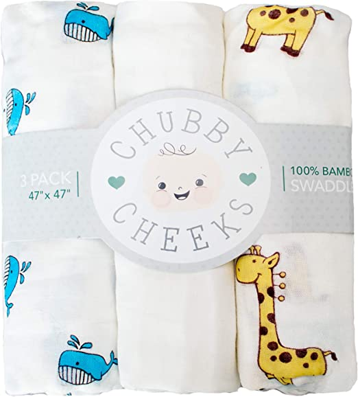 Large 47 x 47 inches Whale and Giraffe Design 3 Pack Chubby Cheeks Baby Swaddle Blankets for Boys and Girls 100/% Bamboo Receiving Blanket with Gender Neutral Animal Patterns White