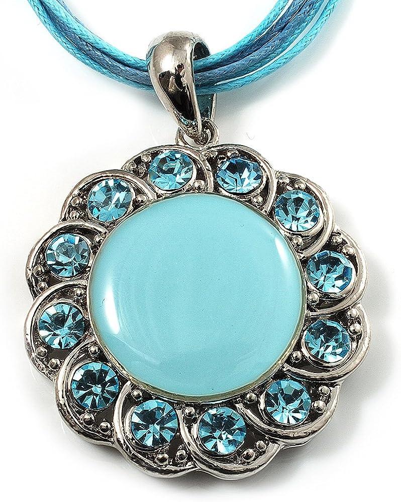 Color azul cristal esmalte medallón de cordón de algodón (tono plateado) -38 cm colgante