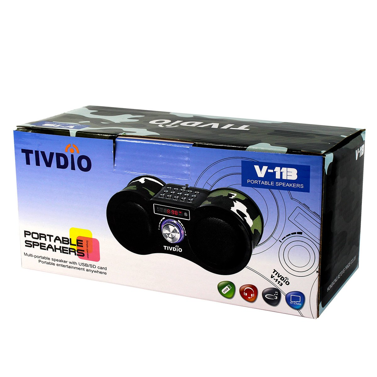 TIVDIO V-113 Portable Transistor FM Stereo Radio Support Mp3 Music Player Speaker Micro SD IF Card Aux Line In Remote(Camouflage) by TIVDIO (Image #8)