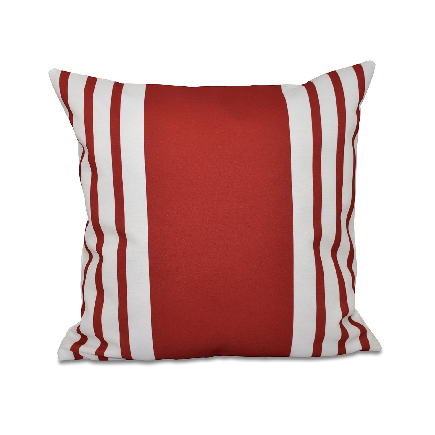 E by design Big and Bold Stripe Decorative Outdoor Pillow, 20-Inch, Red