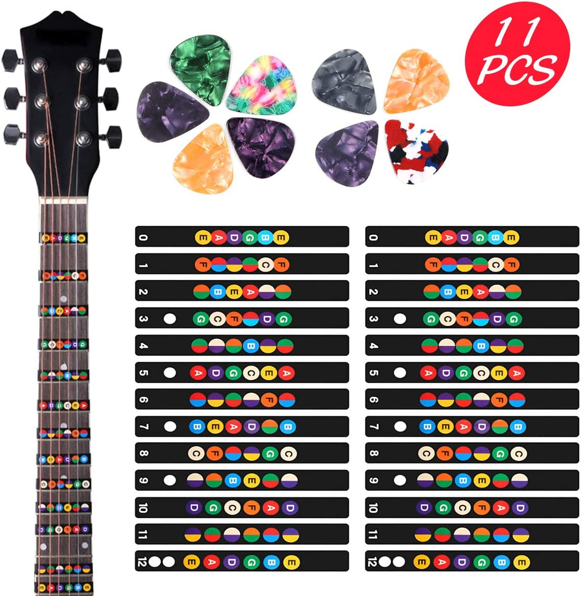 2 Sheets Guitar Fretboard Note Decals Scale Sticker Neck Fingerboard Frets Sticker for Beginner For 6 Strings Acoustic Electric Guitar & 9 Packs Guitar Picks 71S6B94B2JL