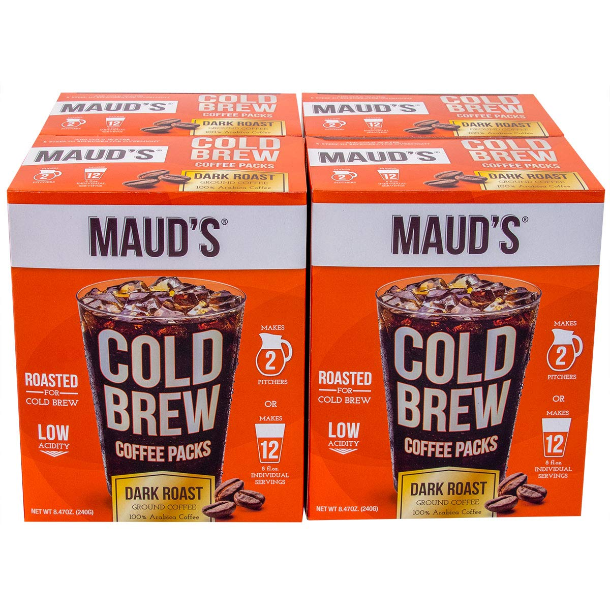 Maud's Cold Brew Coffee Filter Bags 4 Pack - Solar Energy Produced 100% Arabica Low Acid Coffee Cold Brew Packs, 16 Filters Makes 8 Pitchers Or 48 Single Serve Cups, No Cold Brew Coffee Maker Required