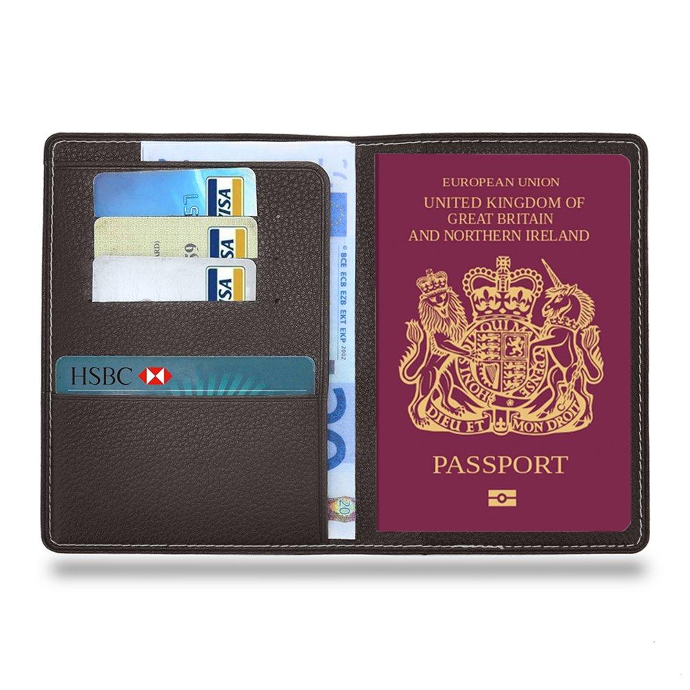 MPTECK @ Fundas Pasaporte Funda para pasaporte de cuero PVC Cartera de piel para pasaporte Caja Sostenedor Cubierta Organizador Protector con 3 huecos para tarjeta de crédito y billete Tarjetas Identificación Accesorios Viaje Gris mondpalast