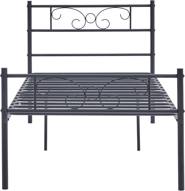 Symylife Cama Individual con armazón de Metal, Soporte de Listones sólidos y cabecero de Mariposa de fácil Montaje, Negro (90_x_190_cm)
