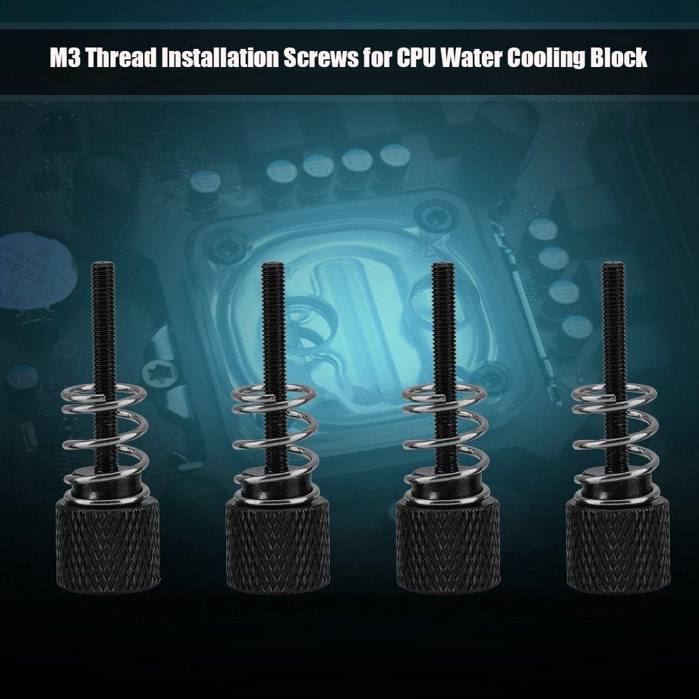 Negro Aluminio Richer-R 4PCS Tornillos de Refrigeraci/ón por Agua,Tornillo para Bloque de Agua de la CPU con Rosca M3 para Intel 1150//1151//1155//1156//1366//775