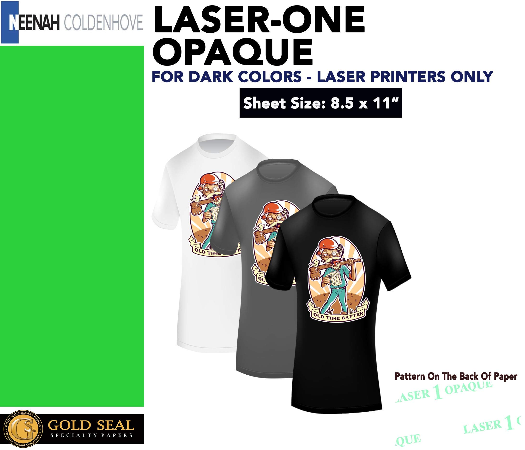 Laser 1 Opaque 1 Step/Darks Heat Transfer Paper For Laser Printers 8.5x11 (100 Sheets) by Neenah