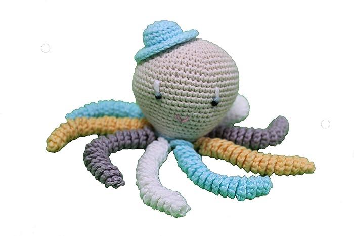 Pulpo amigurumi para recién nacido en color aguamarina, blanco gris y amarillo. Pulpo de ganchillo - crochet para bebé, ideal como regalo de ...