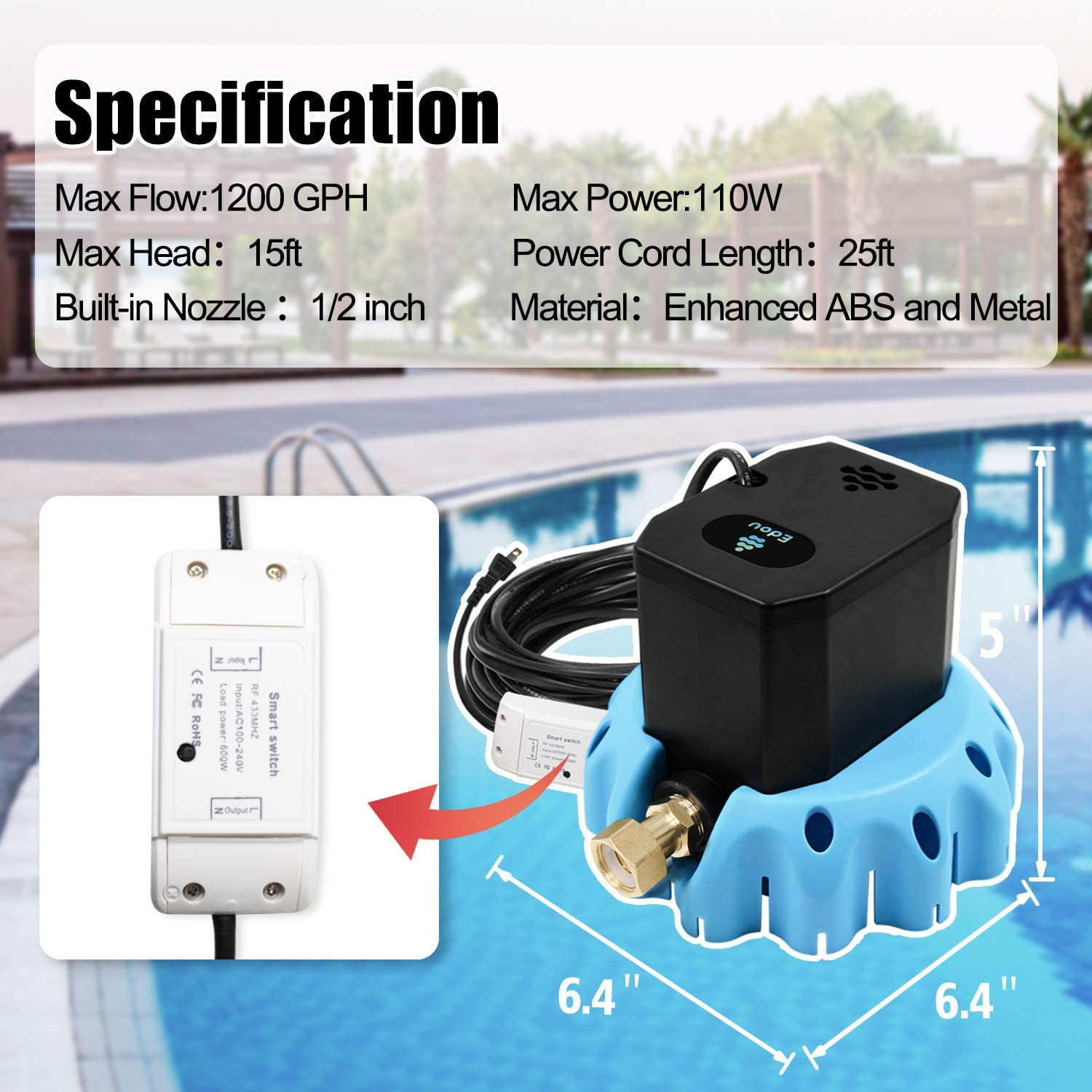 EDOU Remote Control Switch On-Off Pool Cover Pump,Including Remote Control,16 Drainage Hose and 3 Adapters 1200 GPH,Blue and Black