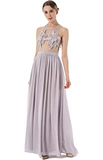 ACVIP Womens Flower See Through Chiffon Party Prom Ball Maxi Dress Gown