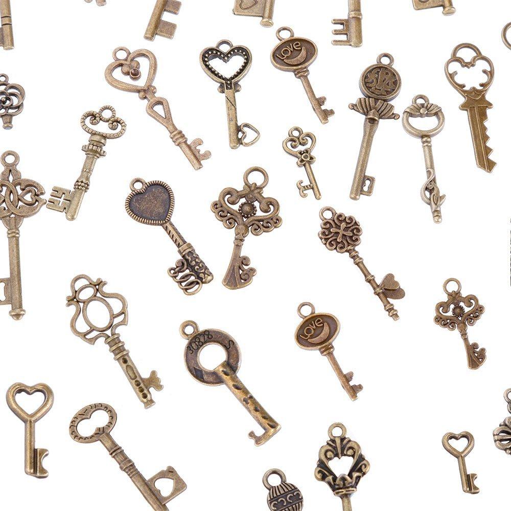 Goldge 80er Vintage Deko Schl/üssel Bronze Schl/üssel Retro Anh/änger f/ür Halskette zum Herstellen von Schmuck Basteln