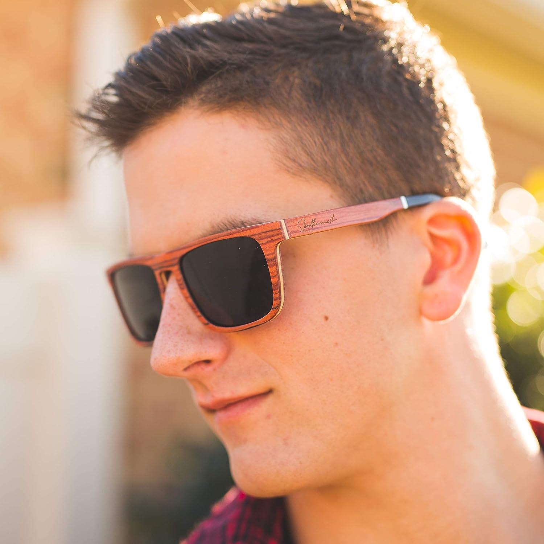 2406f294d8d9b Amazon.com  Natural Wood Sunglasses for Men - Wooden Frame - Genuine Polarized  Lenses (Rosewood - Dark Lenses)  Clothing