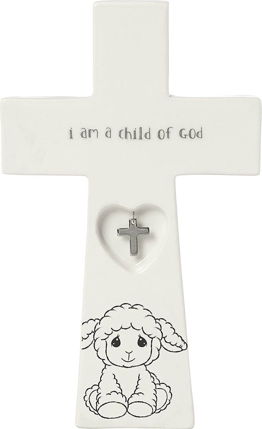 Precious Moments Child of God 7.25-Inch Baptism Charm 183433 Cross, One Size, Multi