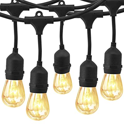 EAGWELL 48 Ft Outdoor String Lights Commercial Grade Weatherproof Strand Edison Vintage Bulbs 15 Hanging Sockets, UL Listed Heavy-Duty Decorative Café Patio Lights for Bistro Garden: Garden & Outdoor