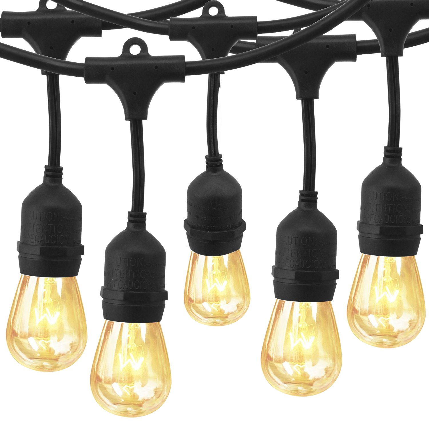 48 Ft Outdoor String Lights ,EAGWELL Weatherproof Commercial String Lights with S14 Incandescent Bulbs, UL Certification Backyard Lights for Garden Bistro Cafe Pergola Gazebo Party