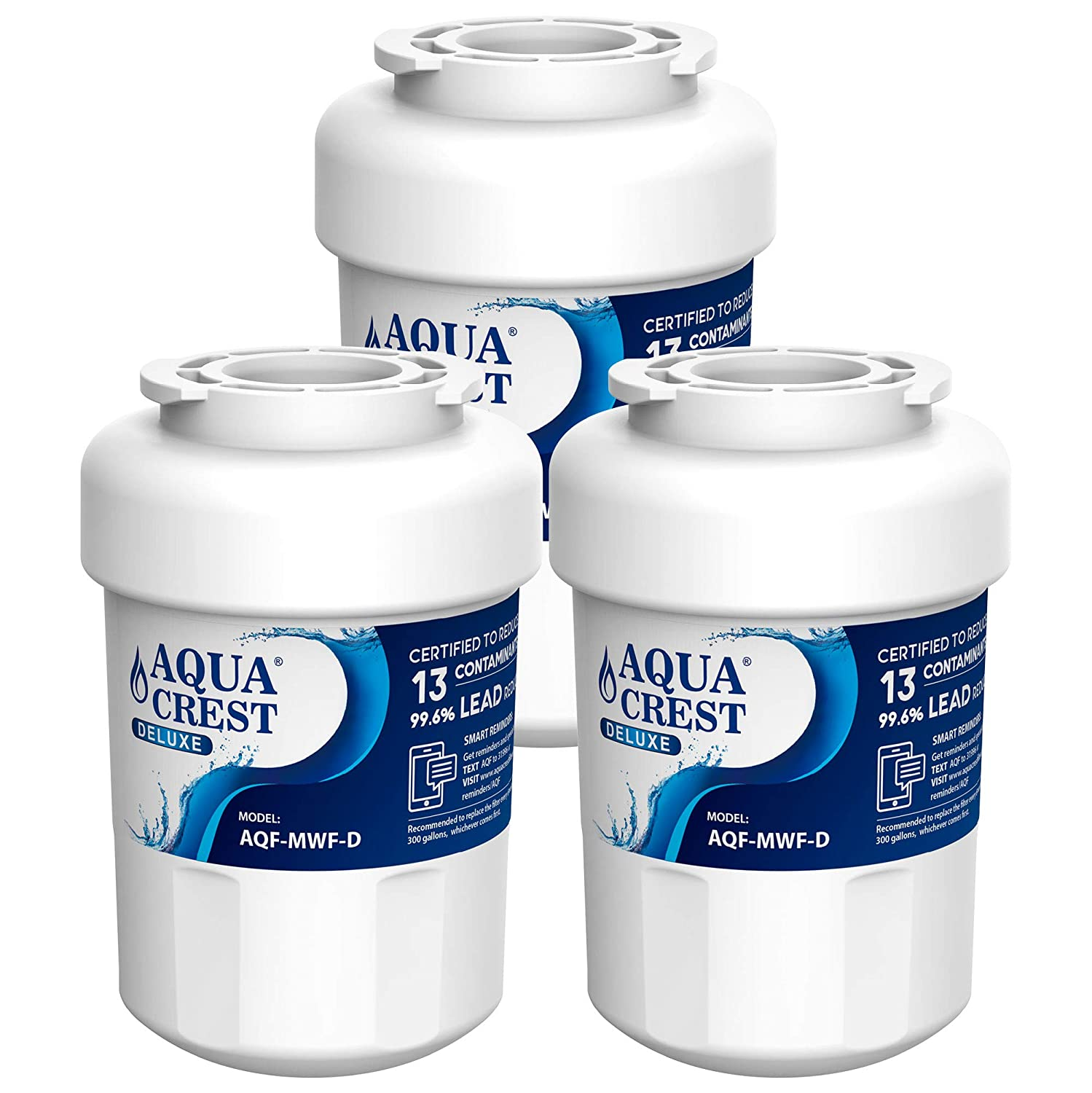 AQUACREST MWF NSF 401 Certified to Reduce Lead and More, Compatible with GE MWF, SmartWater, MWFP, MWFA, GWF, HDX FMG-1, WFC1201, GSE25GSHECSS, RWF1060 Refrigerator Water Filter (Pack of 3)