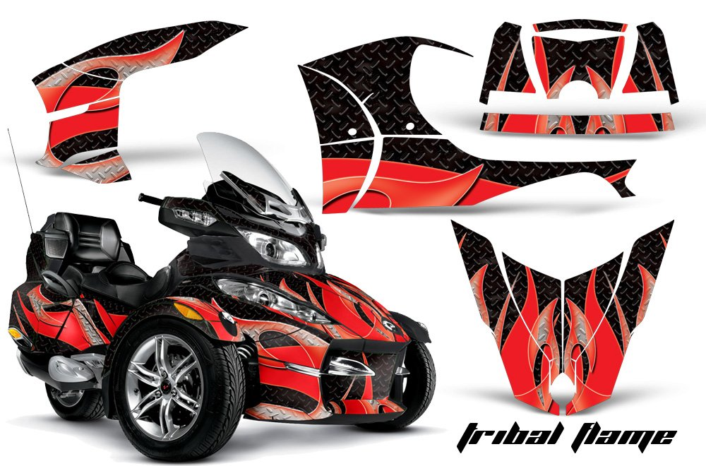 AMR Racing Graphics Can-Am Spyder RT-S Roadster Vinyl Wrap Kit - Tribal Flames Red Black