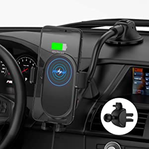 Mpows Car Phone Mount Wireless Charger, Qi Car Charger 10W/7.5W, Auto-Clamping Car Wireless Charger Air Vent Dashboard Car Mount, Compatible/w iPhone 11 Series/X/XR/8, Galaxy Note10/S10/S20 Series