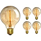 Edison Bulb - Elfeland 60W Vintage Antique Style Incandescent Light Bulbs - Squirrel Cage Filament - Classic Amber Glass - G80 - E26/E27 Medium Base - Dimmable - 4 Pack