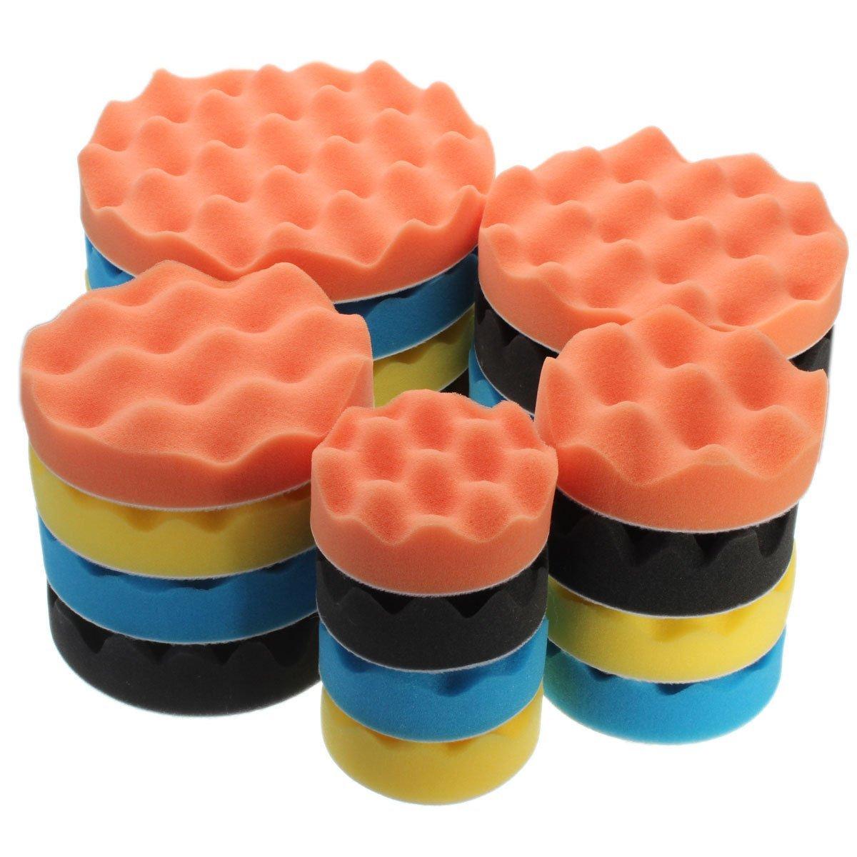 Yosoo 4Pcs 5/6/7' Sponge Polishing Waxing Buffing Pads Kit Set Compound Auto Car Polisher (5 Inch)