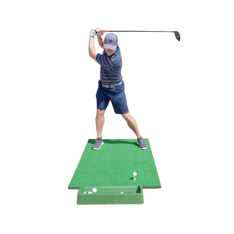 SharperGolf 3 x 5 Premium Quality Golf Practice Hitting Mat, with Large Ball Tray, 3 Alignment Sticks, Training Aid, 12 Practice Balls, 3 Mat Tees