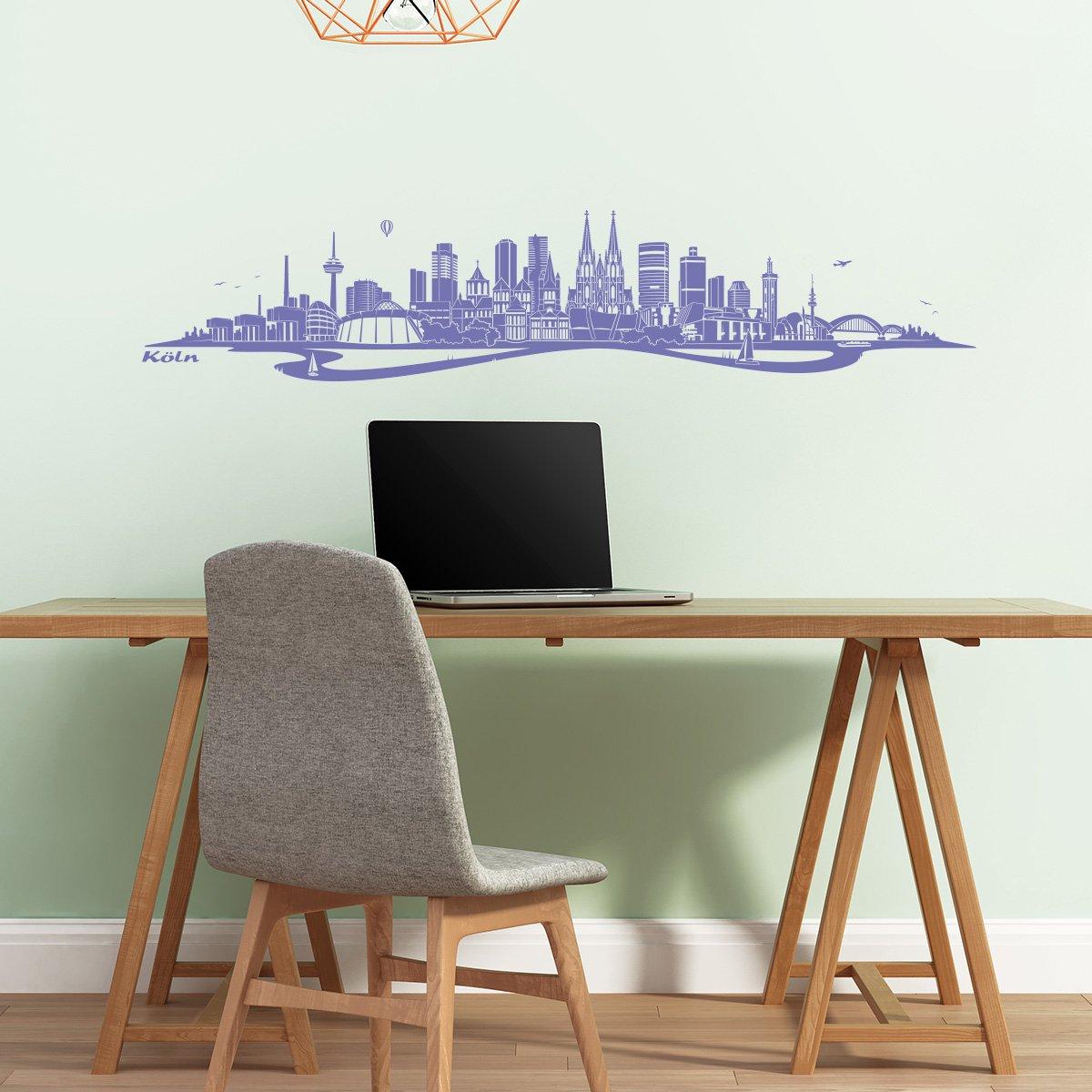 WANDKINGS WANDKINGS WANDKINGS Wandtattoo - Skyline Köln (mit Fluss) - 180 x 37 cm - Dunkelgrau - Wähle aus 6 Größen & 35 Farben 433a1e