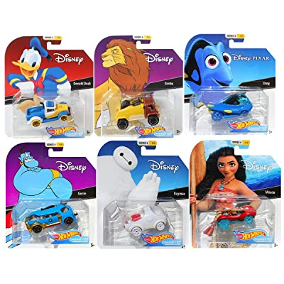 Hot Wheels 2020 Disney/Pixar Character Cars Series 4, Set of 6 Collectible Die Cast Toy Cars Moana, Dory, Donald Duck, Genie, Simba, Baymax: Toys & Games