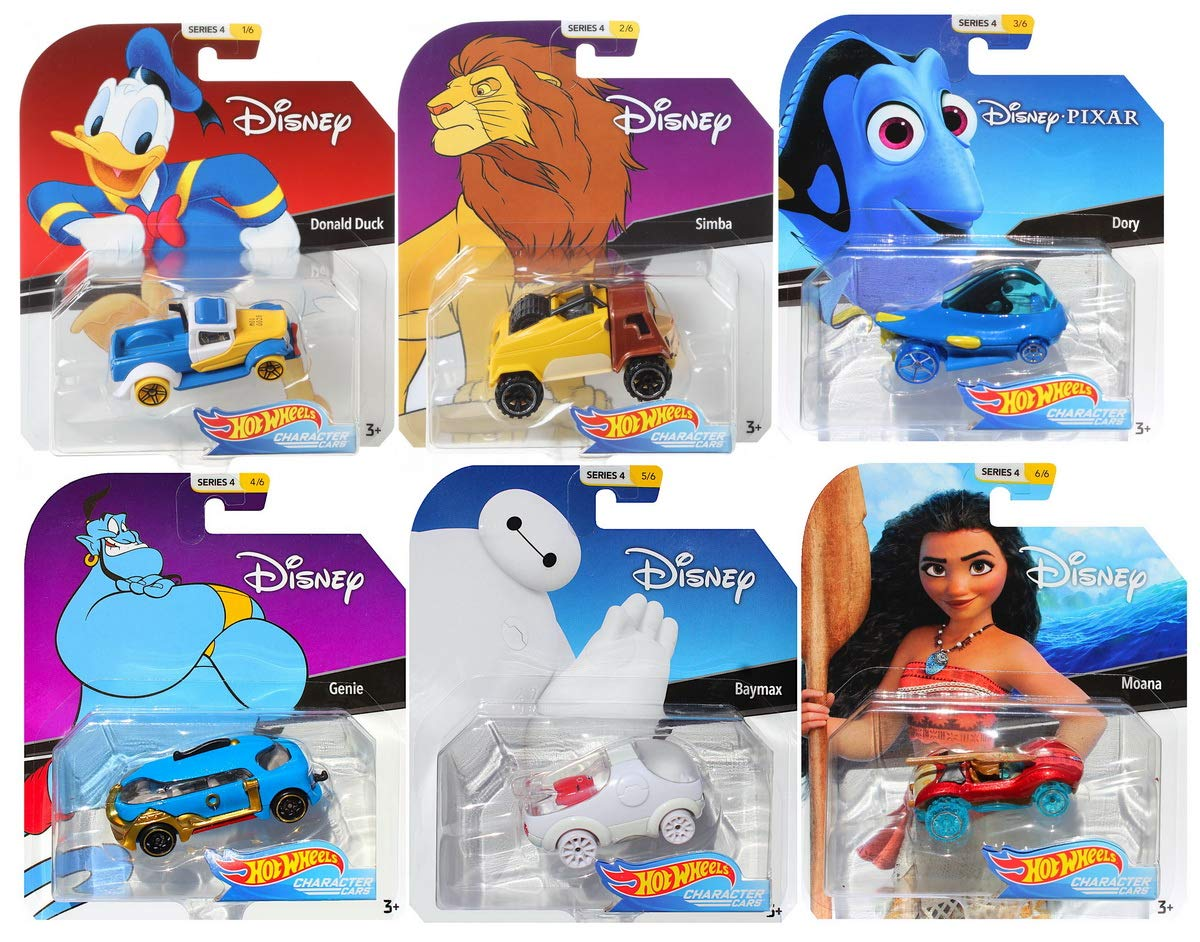 Hot Wheels 2019 Disney/Pixar Character Cars Series 4, Set of 6 Collectible Die Cast Toy Cars Moana, Dory, Donald Duck, Genie, Simba, Baymax