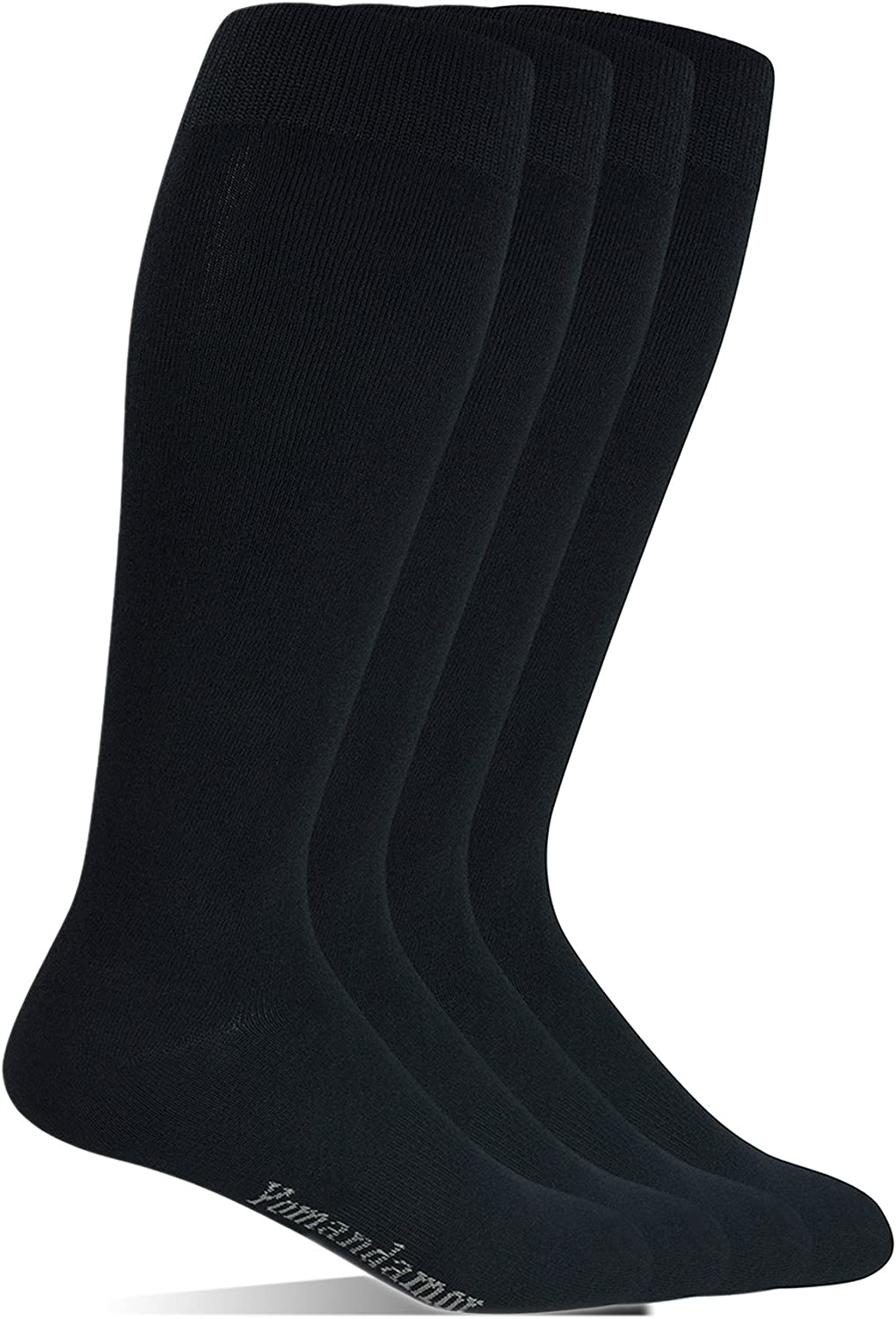 Yomandamor Men's Bamboo Wide Stretched Top Over The Calf Dress Socks Boot Socks, 4 Pairs L Size, Suits For All Season