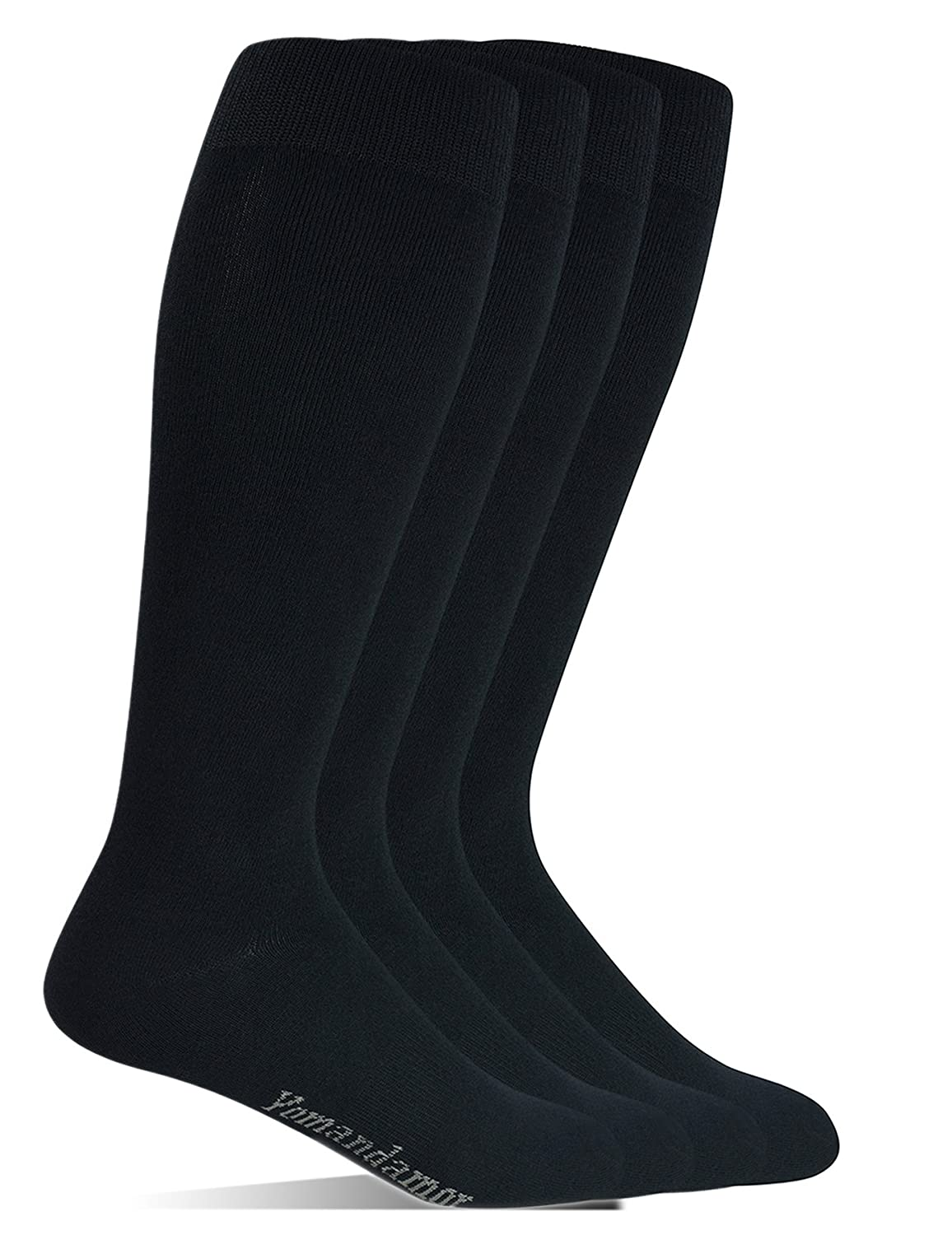 Yomandamor Men's Bamboo Extra Wide Top Over The Calf Dress Socks Boot Socks, 4 Pairs L Size, Suits For All Season BD-S-0166-Black