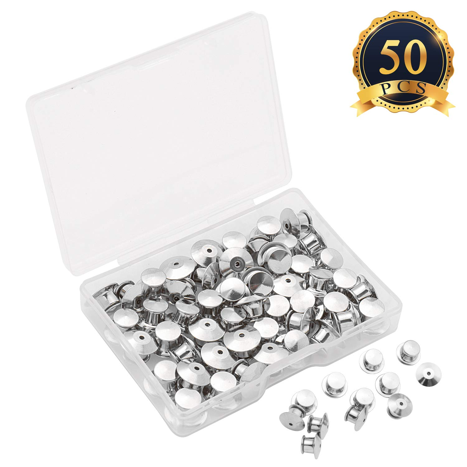 SUBANG 60 Pieces Metal Pin Backs Locking Pin Keepers Locking Clasp with Storage Case