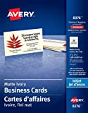 """Avery Perforated Business Cards for Inkjet Printers, 2"""" x 3-1/2"""", Ivory, Matte Coated, 250 Pack, Rectangle (8376)"""