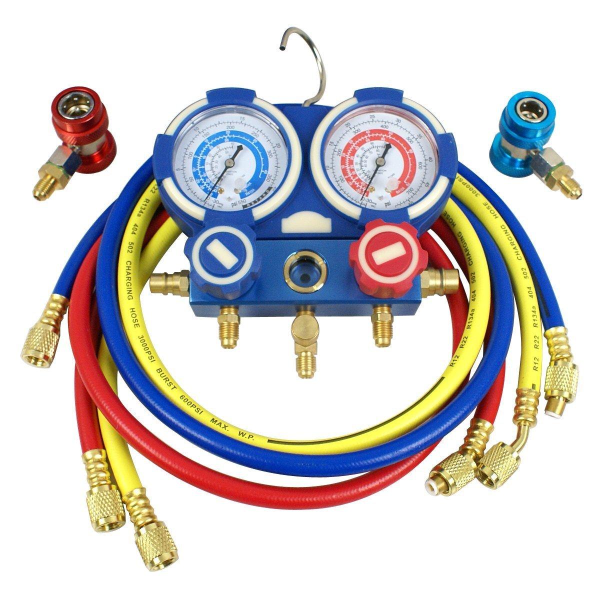 ZENY Combo Air Vacuum Pump HVAC Refrigeration AC Manifold Gauge Set R134a Kit (3.5CFM + Manifold Gauge)
