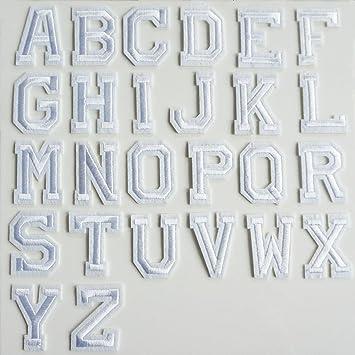 26 weiß Alphabet Buchstaben Nähen Eisen auf Patch Badge bestickt ...