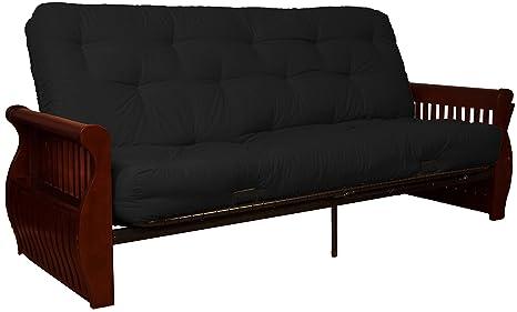 Cool Laguna 8 Inch Loft Inner Spring Futon Sofa Sleeper Bed Full Size Mahogany Arm Finish Twill Black Upholstery Creativecarmelina Interior Chair Design Creativecarmelinacom