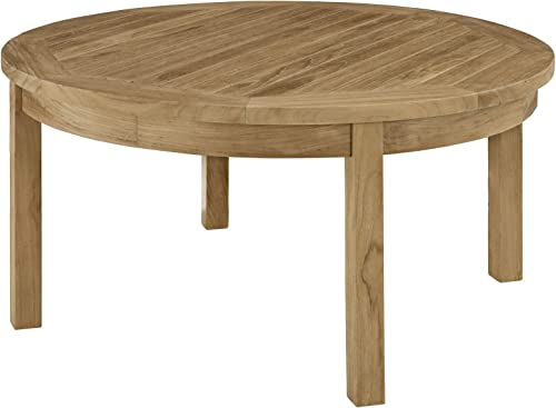 Modway Marina Teak Wood Outdoor Patio Round Coffee Table in Natural