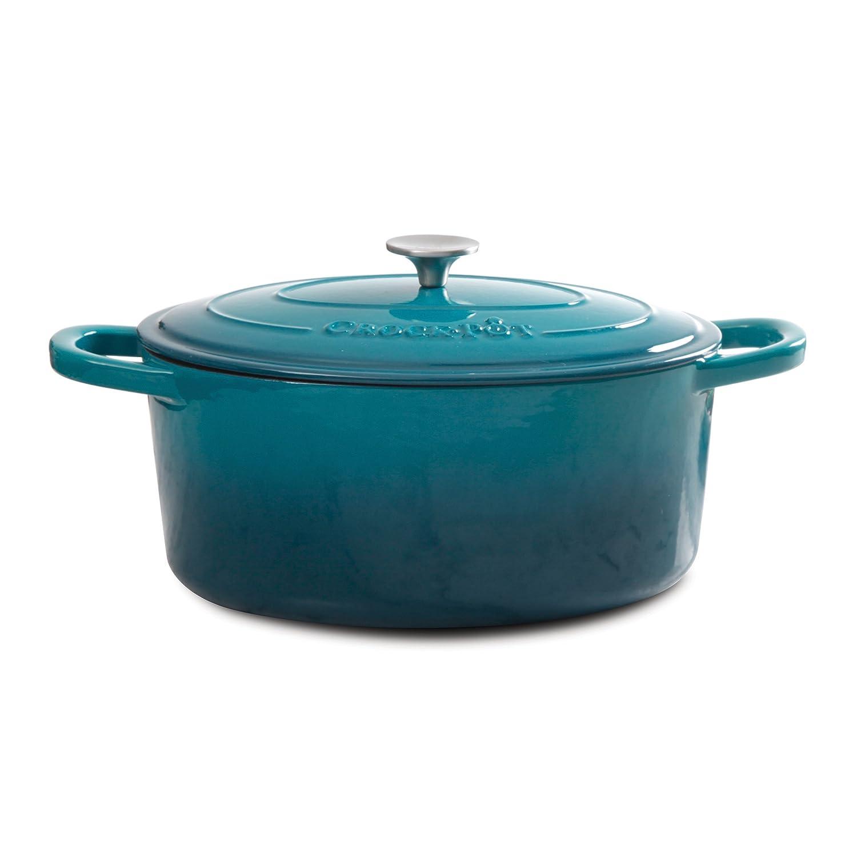 Crock Pot 109475.02 Artisan Enameled Cast Iron 7-Quart Oval Dutch Oven, Teal Ombre