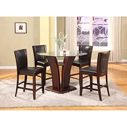 Genial Roundhill Furniture Clar 5 Piece Glass Top Counter Height Dining Set ,  Espresso Finish