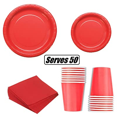 "Serves 50 Guest Complete Party Pack | Red | 9"" Dinner Paper Plates 