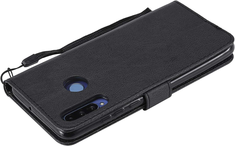 LOKTU100091 Brown nova4e Lomogo Leather Wallet Case with Kickstand Card Holder Shockproof Flip Case Cover for Huawei P30Lite Huawei P30 Lite//nova 4e Case