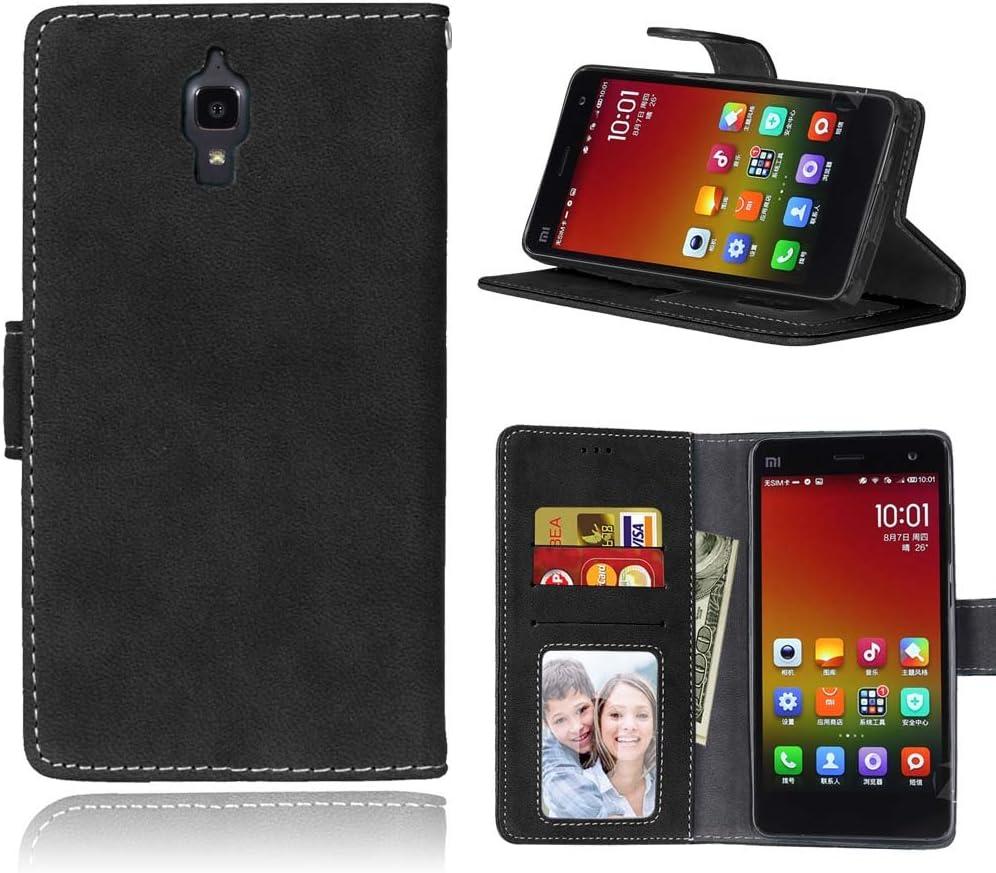 FUBAODA Funda de Piel para para Xiaomi Mi4, [Gamuza][Scrub] función de Soporte móvil, Cierre magnético, Ranuras para Tarjeta de crédito para para Xiaomi Mi4 (Negro)