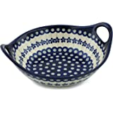 Polish Pottery Bowl with Handles 10-inch Flowering Peacock