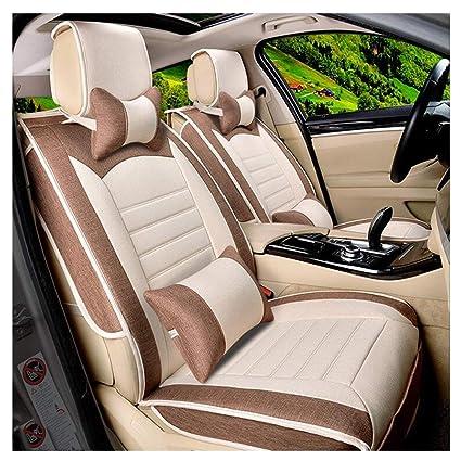 Amazon com: ADHW Luxury Car Seat Cover Sets,Linen/Flax Car Van Seat