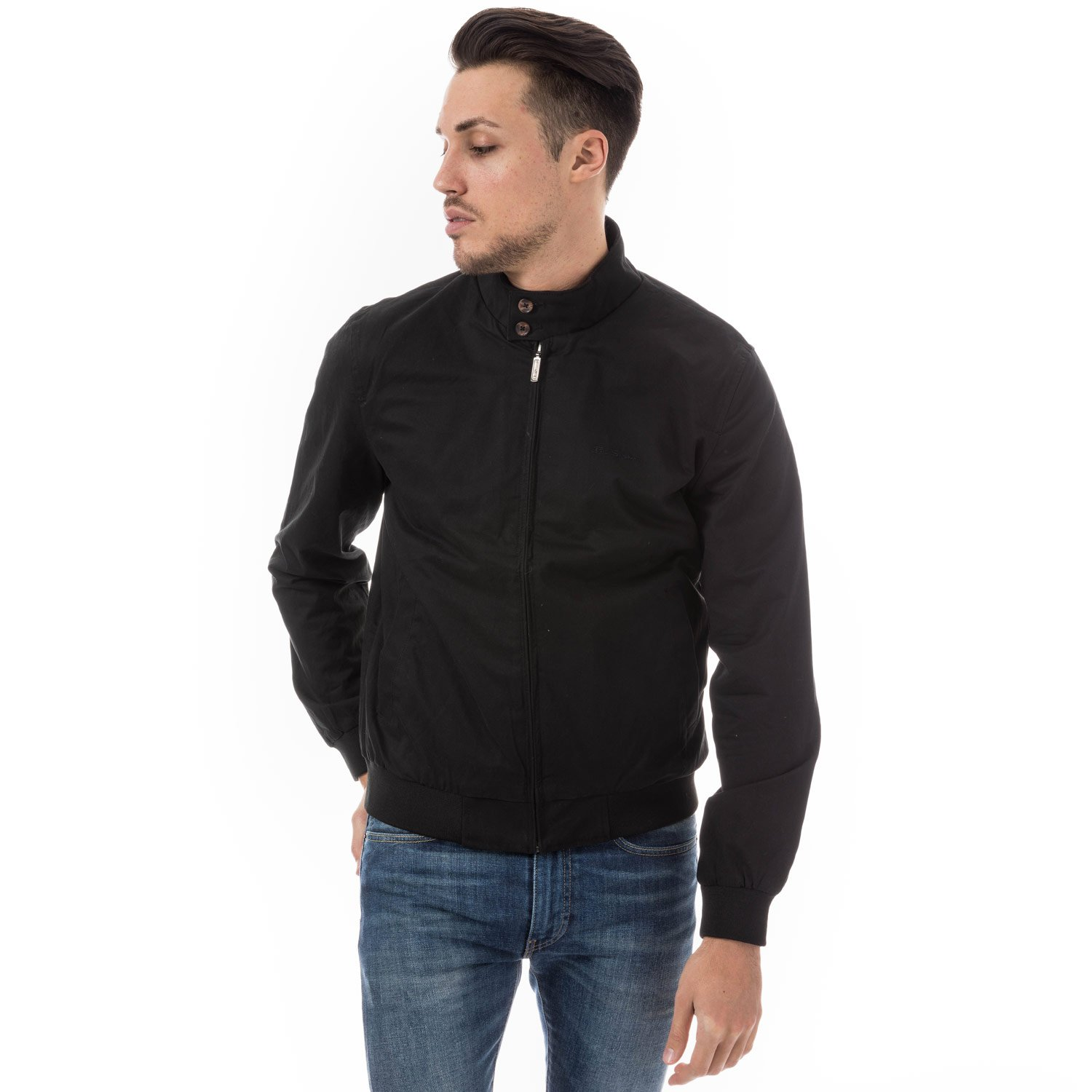 Ben Sherman Men's Classic Harrington Jacket L Black