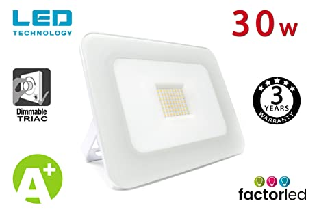 FactorLED Foco Proyector 30W LED Luxury Blanco, Iluminación ...