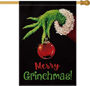 AVOIN Merry Grinchmas House Flag Vertical Double Sized, Christmas Grinch Winter Holiday Party Yard Outdoor Decoration 28 x 40 Inch