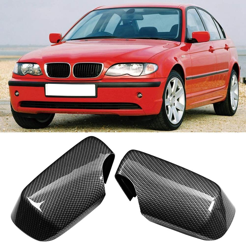 Carbon Fiber Style Door Wing Mirror Protector Add on Side Rearview Cover Fits for E46 1998-2005 Wing Mirror Cover