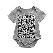 Nevera Toddler Short Sleeve Playsuit, Infant Baby Boys Girls Love Pattern Letter Romper Clothes (6M, Gray B)