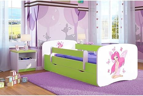 Kocot Kids Cuna Cama 70 x 140 80 x 160 80 x 180 Color Verde con Protección Anti Caídas Colchón cajón y somier Camas Infantiles para niña y niño