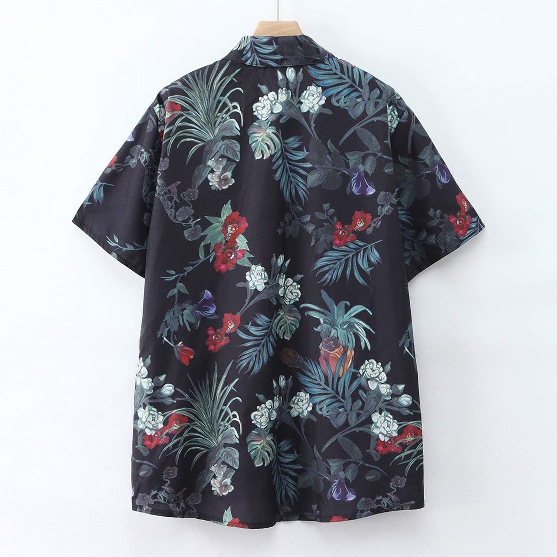 Mens Printed Beach Shirts Hawaiian Shirt Casual Camisa Masculina Short Sleeve Clothes,Black,XXL,C
